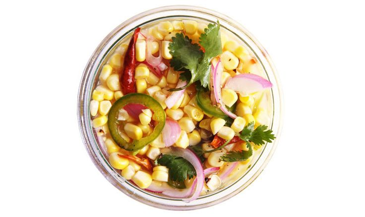 Pickled corn with red onions Preserve summer's golden ears of corn by pickling it in a spicy brine.