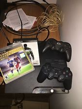 Sony PlayStation 3 (PS3) Slim 120GB Charcoal Black + 2 Controllers + 2 games