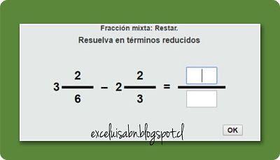 ExceLuisABN Matemática y Excel: Resta fracciones mixtas, con ThatQuiz.