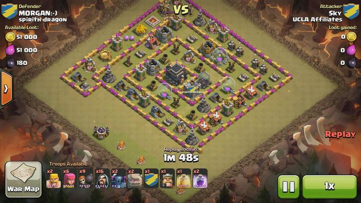 Attacker TH8: 2 Level 5 Barbarian, 6 Level 5 Archer, 16 Level 5 Wizard, 2 Level 1 Golem, 8 Level 5 Wall Breaker, 2 Level 2 Pekka, 1 Level 3 Pekka, Level 8 Barbarian King, 1 Level 5 Rage Spell, 1 Level 5 Healing Spell Defender TH9: Level 1 Barbarian King, Rank 4/20