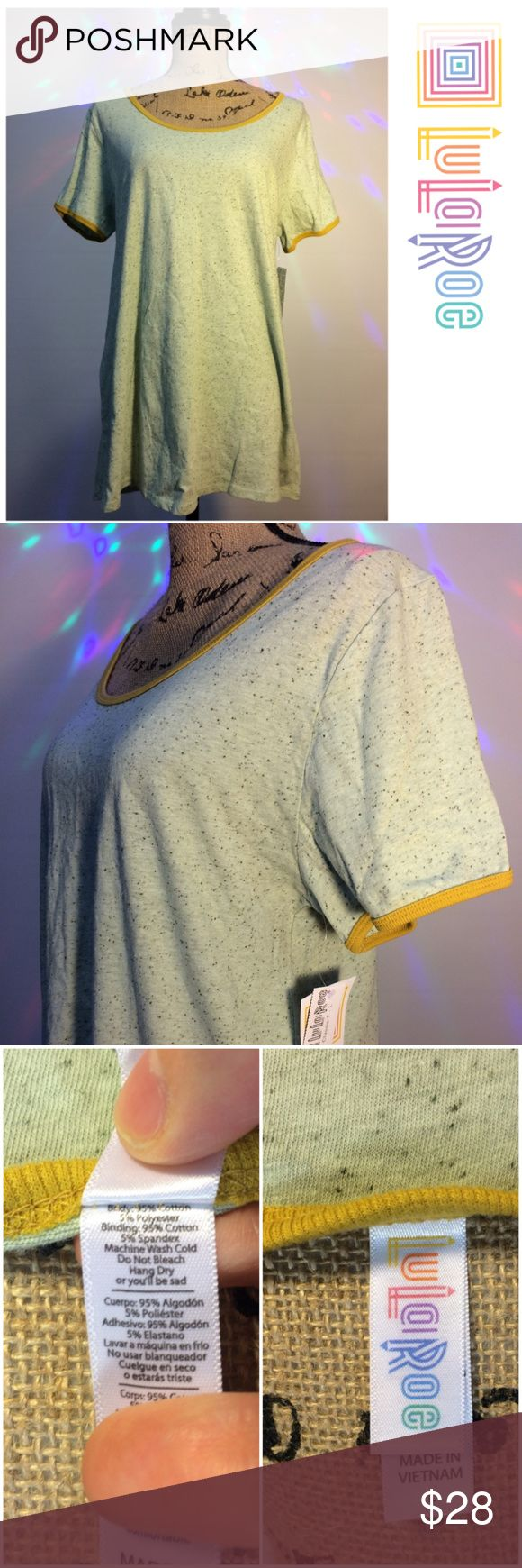 SALE! Brand New LuLaRoe Classic T Tee Lularoe Classic T  Light muted pistachio green speckled heathered with mustard yellow trim  Size Large  New with tags.  Tags: Sage Ringer LuLaRoe Tops Tees - Short Sleeve