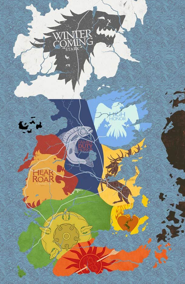 Winter is coming (Stark);   As high as honor (Aaryn);    Family duty honor (Tully);     Hear me roar (Lannister);      Ours is the fury (Baratheon);     Growing strong (Tyrell);    Unbowed unbent unbroken (Martell).     [off this map - We do not sow (Greyjoy);   Fire and blood (Targaryen).]