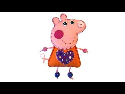How to make Peppa Pig felt plushie luggage tag with free pattern by Lisa Pay - YouTube
