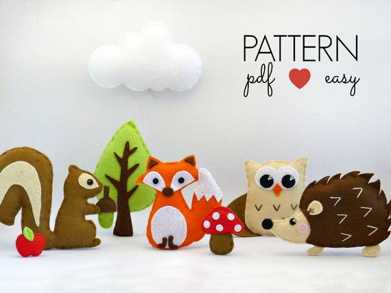 Felt Woodland Stuffed Animal Sewing Patterns, DIY Baby Mobile Pattern, Hedgehog, Fox, Owl, Squirrel, Tree, Mushroom, Plushie, Softie