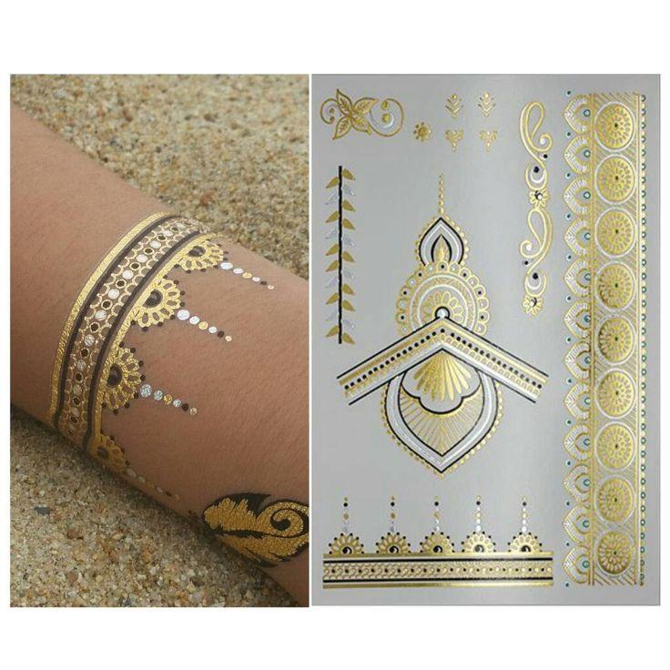 Henna Mandala Tattoo - Gold Tattoo Easy to Apply - Waterproof Long Lasting - Temporary Gold and Silver Metallic Tattoo