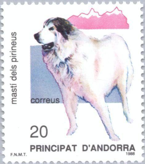 Stamp: Pyrenean Mastiff (Canis lupus familiaris) (Andorra, Spanish Administration) (Nature) Mi:AD-ES 202,Sn:AD-ES 186,Yt:AD-ES 192,Edi:AD-ES 206