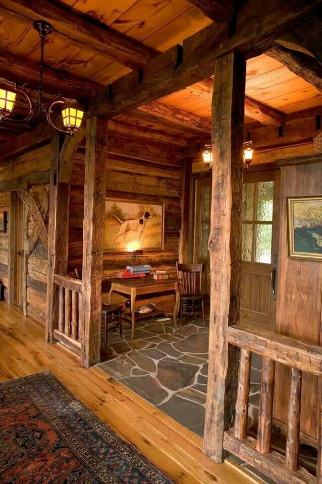 Lodge Foyer Lighting : Love this entryway for a log home maybe make it tad