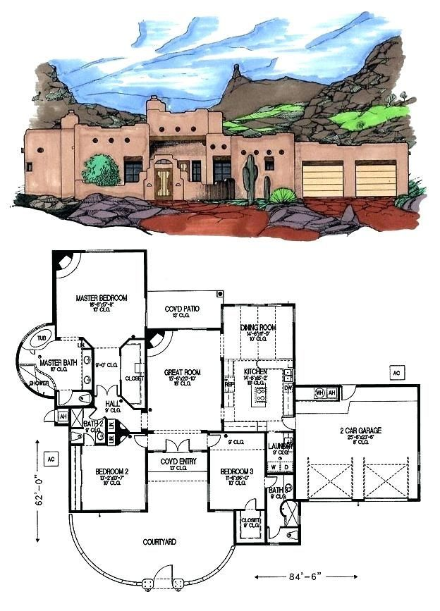 Awesome Santa Fe House Plans Or Download By Tablet Desktop Original Size Back To Fresh Style Home Plan In 2020 Southwest House Courtyard House Plans Pueblo Style House