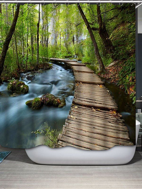 Landscape Shower Curtain Crotian Lake Forest Print for Bathroom