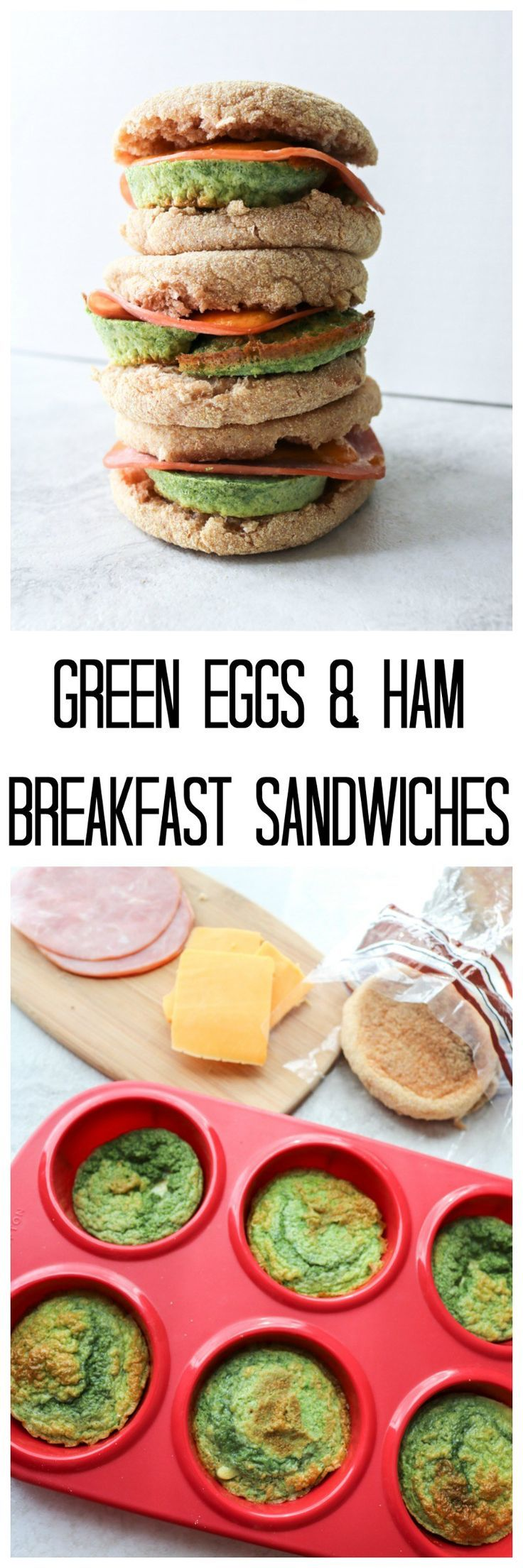 "Green Eggs and Ham Breakfast Sandwiches: Naturally ""dyed"" with spinach eggs are paired with ham and sharp cheddar cheese to create a portable breakfast sandwich that is easily made ahead and freezer-friendly."