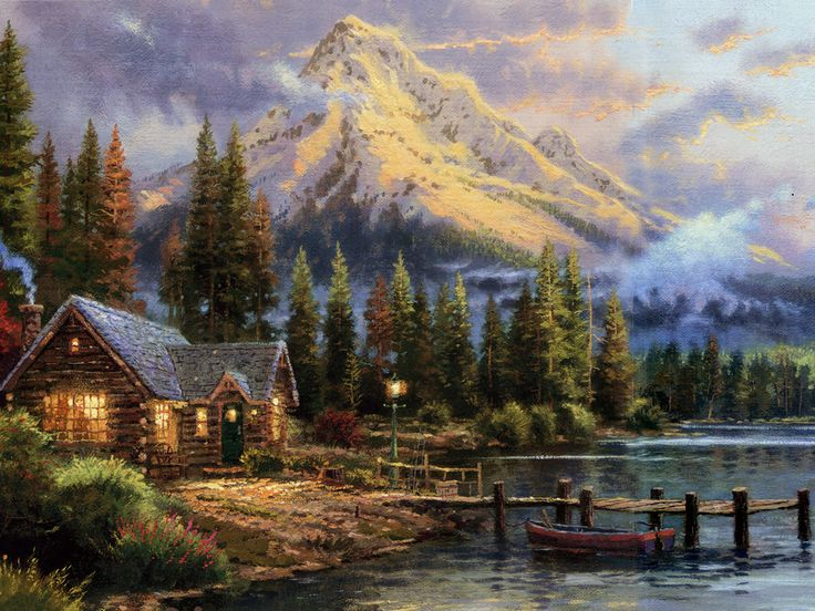 thomas kincade | Thomas Kinkade 22, art, Christmas, holiday, Kinkade, mountain ...