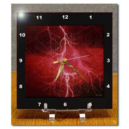 dc_7086_1 SmudgeArt Miniature Collection - Red Lightning - Desk Clocks - 6x6 Desk Clock 3dRose http://www.amazon.com/dp/B00472039U/ref=cm_sw_r_pi_dp_BSQbwb0TQ7XNT