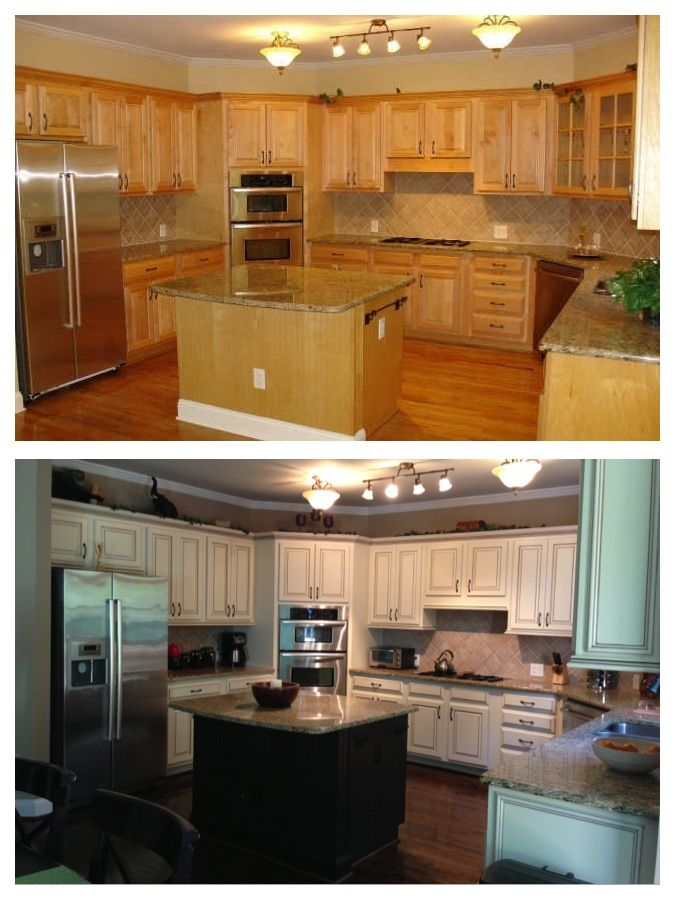 Before and after painted maple cabinets kitchen for Cabinets before and after