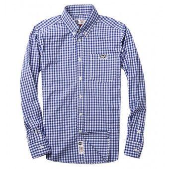 "Aape ""Gingham Bat Badge"" Button Up Shirt (Blue & White) #abathingape  #bape #aape #streetwear #streetfashion #fashion #urbanwear #longsleeves #buttonupshirt"