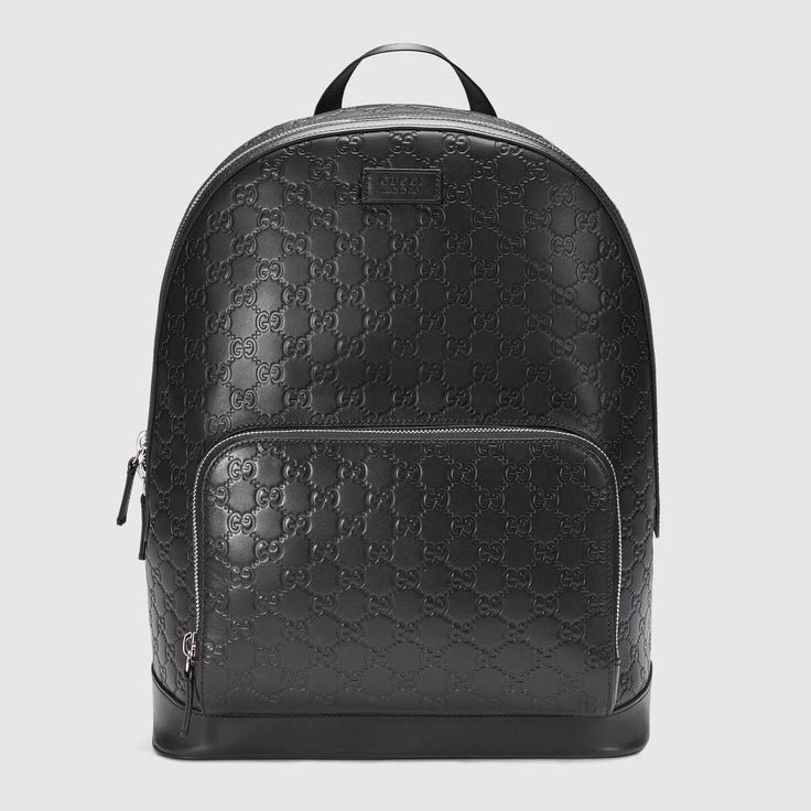 GUCCI Gucci Signature leather backpack - black Gucci signature. #gucci #bags #lining #nylon #backpacks #suede #