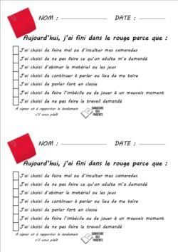 Comportement : liaison parents - école I like the positive behaviour slip too!