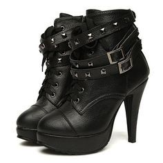 Buckle and Studs Embellished High-Heeled Boots