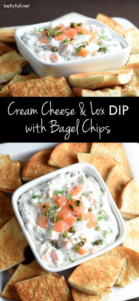 Cream cheese and lox on a bagel is transformed into a delicious dip for an easy appetizer. Perfect for brunch or Passover!