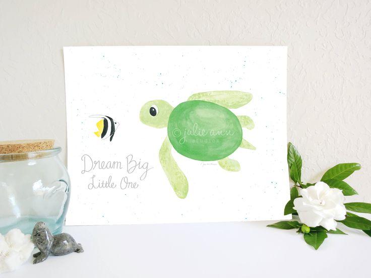 Dream Big Little One Sea Turtle and Butterflyfish Art Print, Sea Turtle Art Print, Ocean Nursery Art, Sea Nursery, Baby Wall Art, Kids Art by JulieAnnStudios on Etsy https://www.etsy.com/listing/231979981/dream-big-little-one-sea-turtle-and