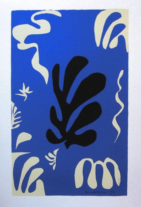 Composition sur Fond Bleu by Henri Matisse, 1951. Serigraph of paper cutout (gouaches découpés), 50 x 70 cm