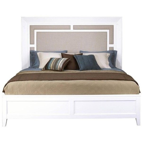 Samuel Lawrence Brighton Queen Upholstered Panel Bed ($520) ❤ liked on Polyvore featuring home, furniture, beds, white, queen upholstered headboard, queen headboard, white queen headboard, upholstered bed and white upholstered bed
