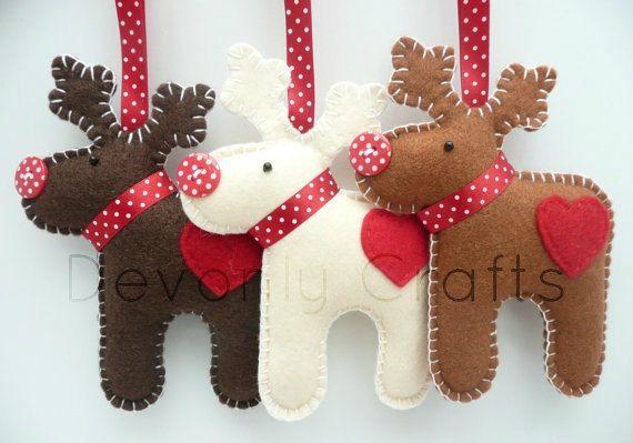 x3 Reindeer Felt Christmas Decorations by DevonlyCrafts on Etsy, £16.50