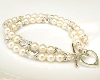 Doble cadena pulsera de perlas, perlas de Swarovski y joyas de boda de cristal, plata, blanco marfil pulsera nupcial, accesorio de la novia