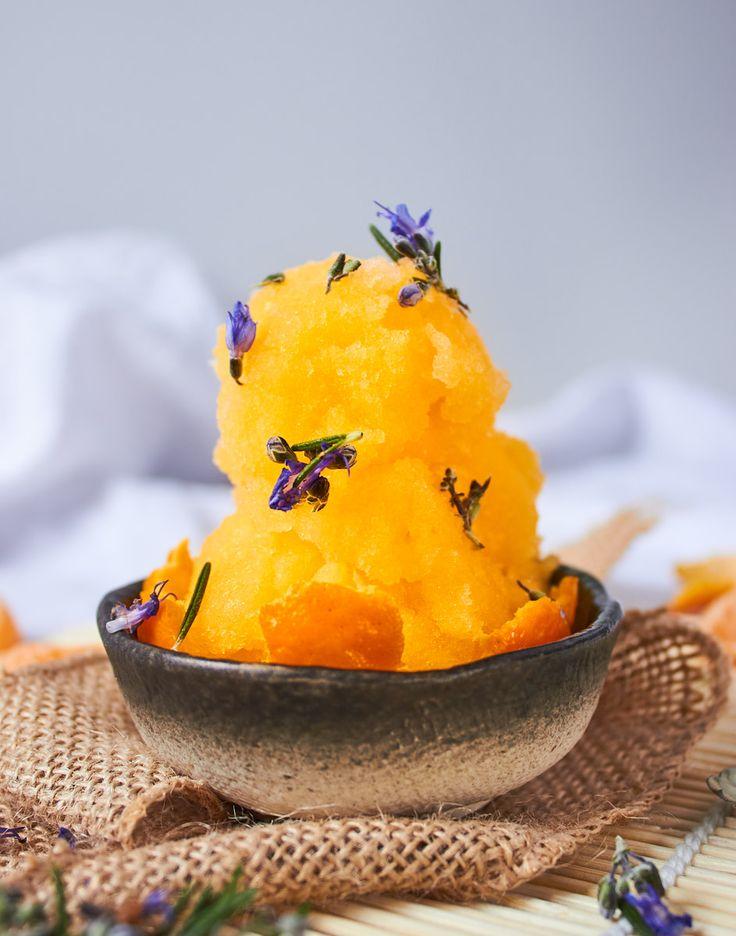 Mandarin and Rosemary Sorbet! Super Sweet & Refreshing!
