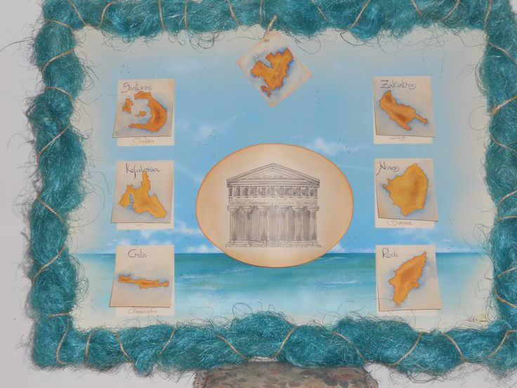 ISOLE della GRECIA tableau de mariage con sfondo tema mare aerografato...by Sonia