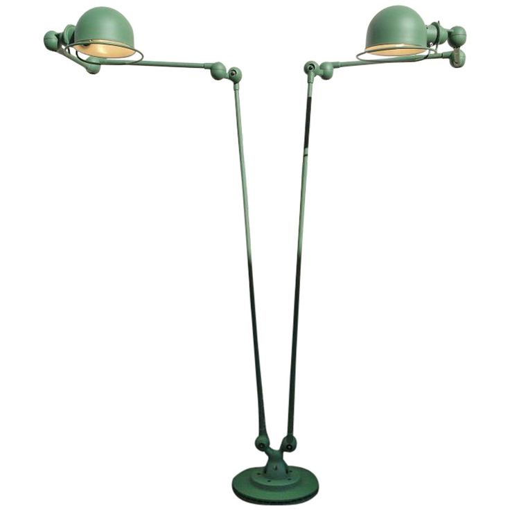 Double 3 Armed Jielde French Industrial Floor Reading Lamp Reseda Green
