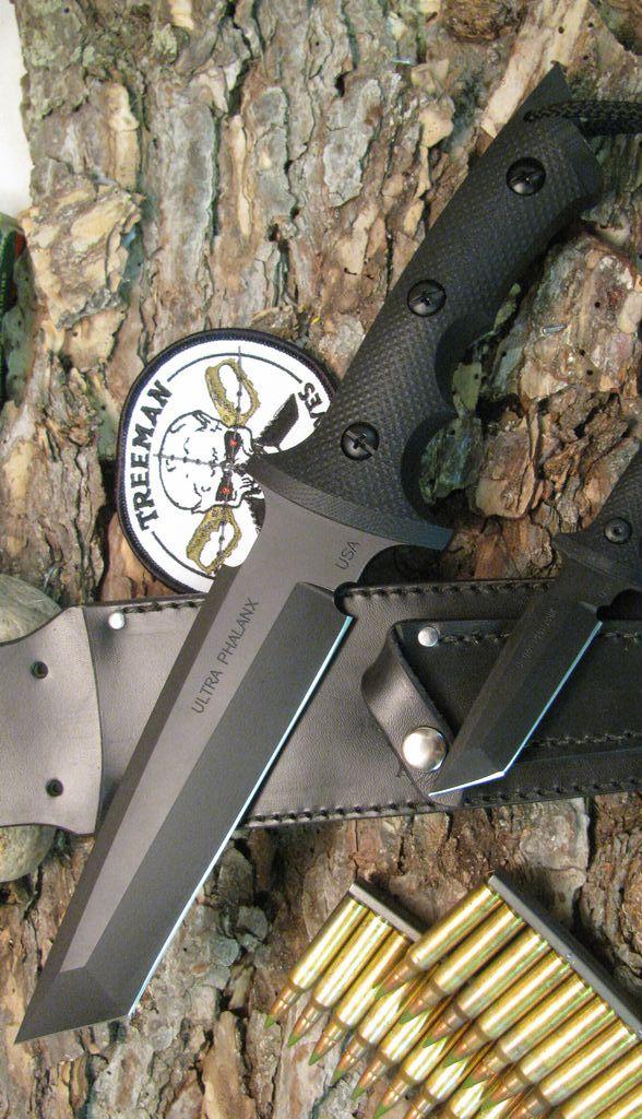 Treeman Knives Ultra Phalanx Black Ops Tactical Fixed Blade Knife Black G-10 (6 inch Black)