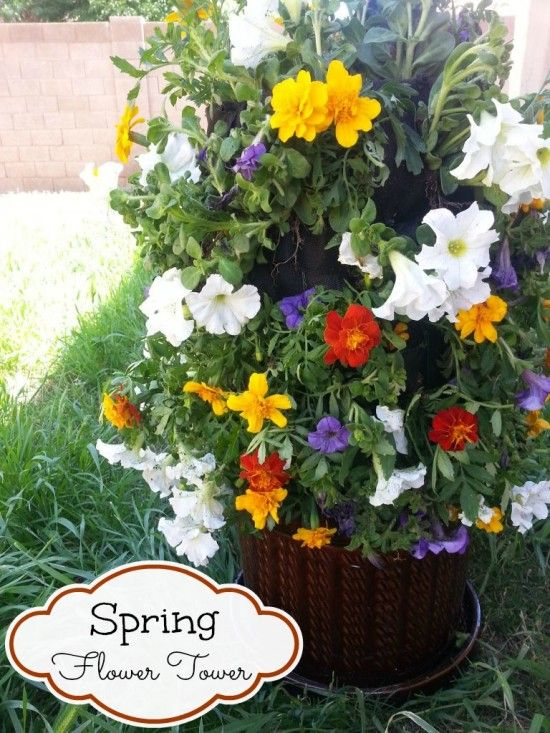Spring Flower Tower! #DigIn @Home Depot