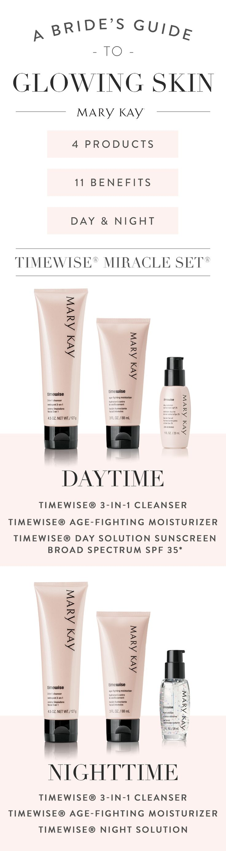 Here comes the glowing bride! Our bestselling TimeWise® Miracle Set® boasts 11 age-defying benefits, for use day and night. | Mary Kay