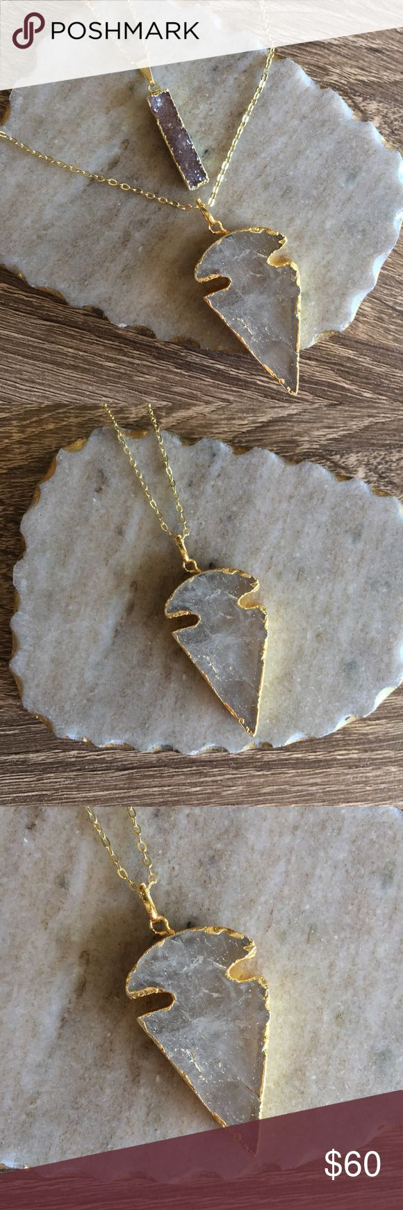 """24k Gold Plated Crystal Quartz Arrowhead Necklace △24k gold electroplated natural clear quartz arrowhead pendant, 18k gold plated 30"""" chain  ✨one of a kind✨ △Handmade in El Paso, TX Simple Sanctuary Jewelry Necklaces"""