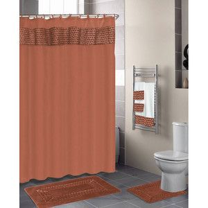 RUST 18 Pc. Bathroom Set:2 Rugs/Mats/1 Fabric Shower Curtain/12 Plastic  Rings