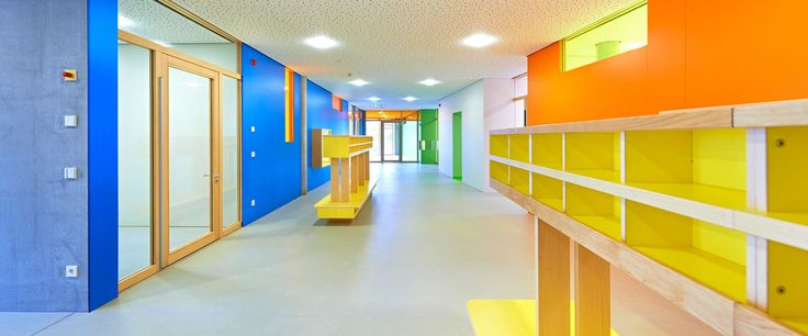 Wilsonart has an array of colourful decors to fit any project design. Fig. Primary school hallway and joinery.