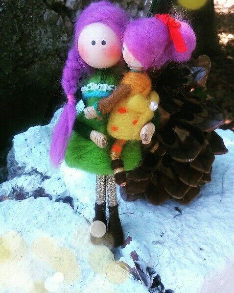 Huge hug mum and daughter!!!!!!!  Handmade dolls!!!!