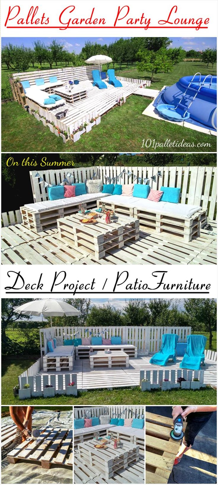 Double up your #outdoor fun with whole #pallets only, no cuttings are involved and no higher experience need for this project ! - Pallets #Garden Party Lounge Projects | 101 Pallet Ideas