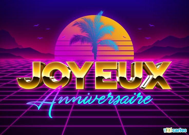 carte anniversaire style les années 80