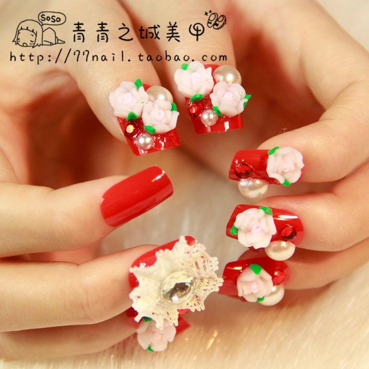 72 best my future nail shop images on pinterest nail shop aliexpress buy nail art festive red square medium long false nail bride nail prinsesfo Choice Image