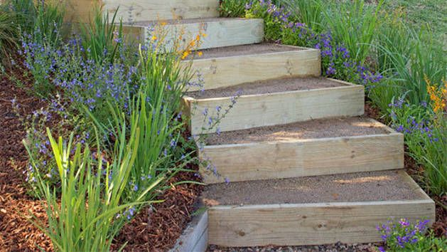 This garden stair design can be adapted to suit your site. We used a stair width of 1200mm. The other two sides of the frame will vary depending on the curve of your stairs (for example, the lengths on the outer edge of the curve will be longer than those on the inner edge).