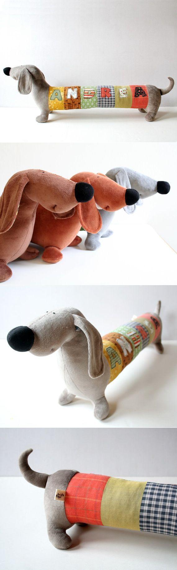 Personalized Dachshund Puppy Long Plush Dog stuffed de andreavida