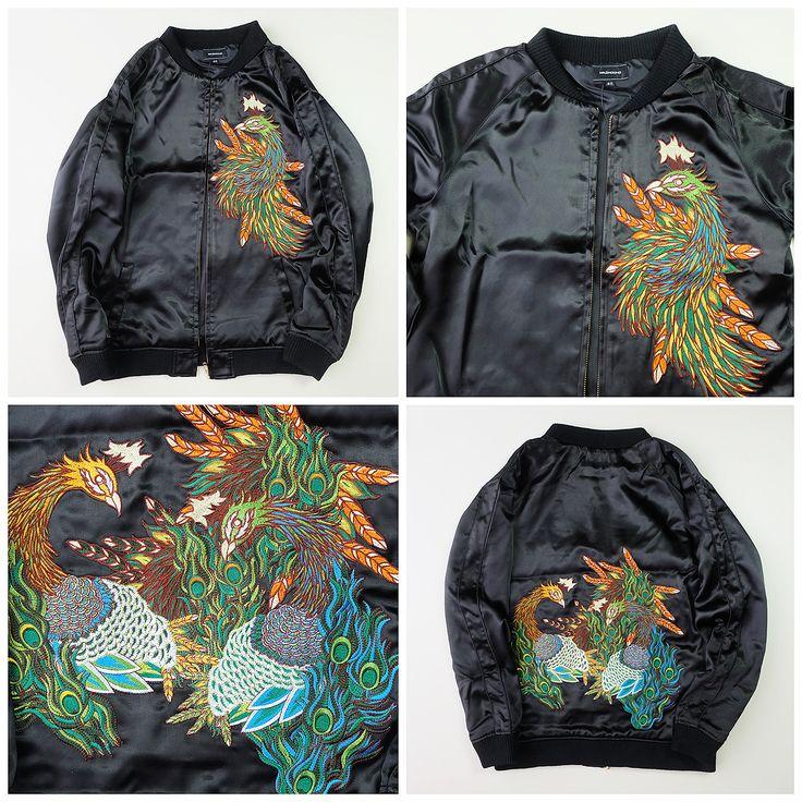 Japanese Sexy Black Vintage Madhound Black Colorful Peacock Mashmania Sukajan Souvenir Jacket - Japan Lover Me Store