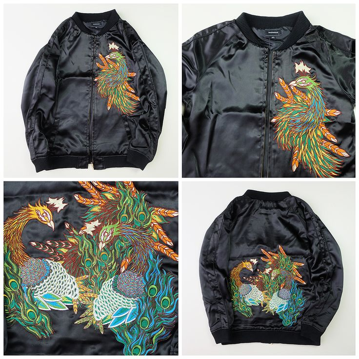 Japanese Sexy Black Vintage Madhound Black Colorful Peacock Mashmania Sukajan Souvenir Jacket - Japan Lover Me Store