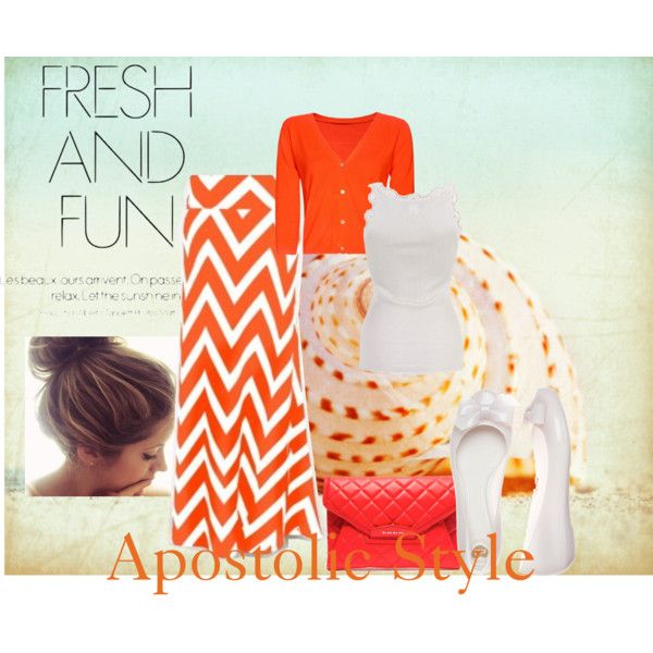 """Fresh & Fun Orange Chevron Apostolic Style"" by emmyholloway on Polyvore"