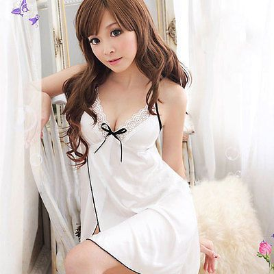 Sexy Women's Lingerie Lace Dress Intimate Babydoll White Sleepwear G-string