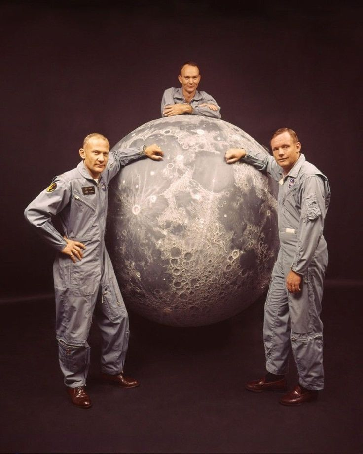 Apollo 11 astronauts Buzz Aldrin, Mike Collins, and Neil Armstrong, 1969.