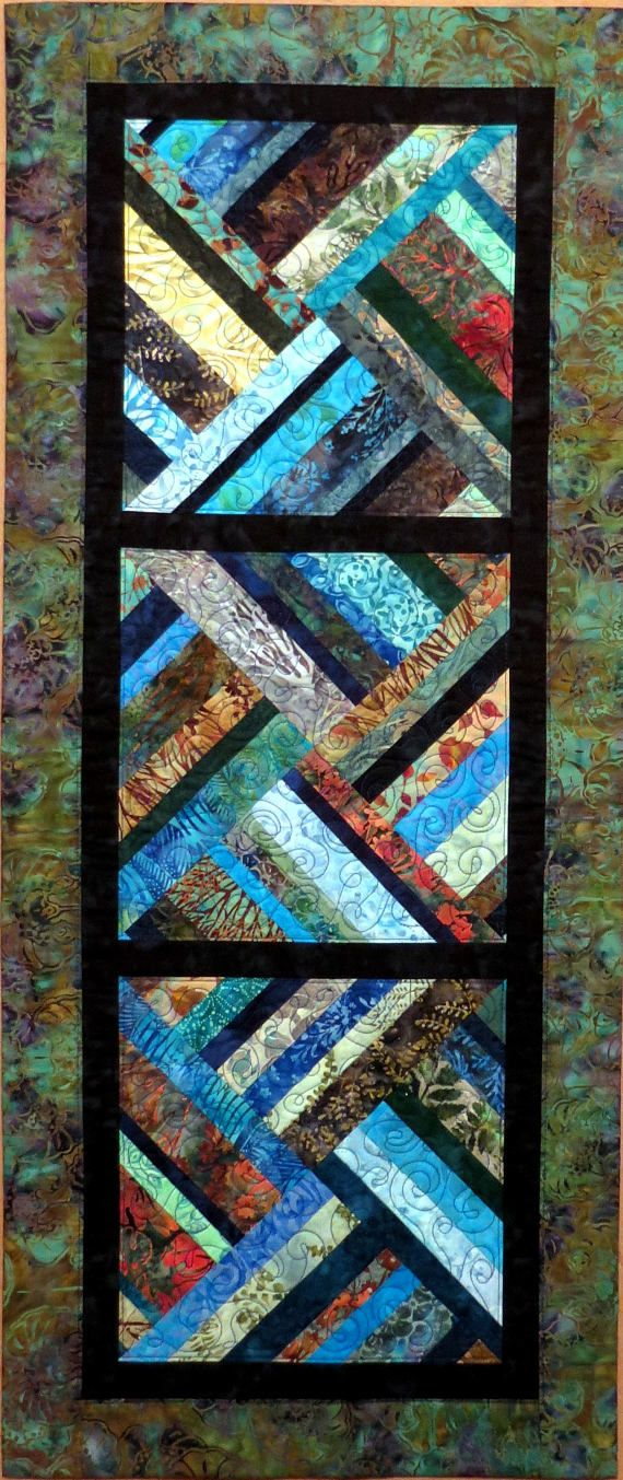 Modern Quilted Batik Table Runner greens blues teal