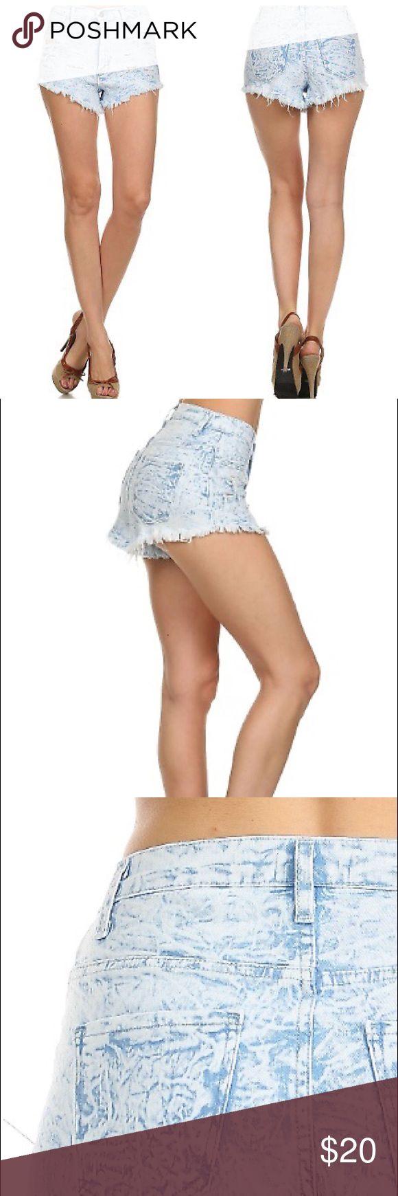 Light blue washed short Light blue denim washed destroed high rise shorts.98/2 cotton/ span. Made in USA. Shorts Jean Shorts