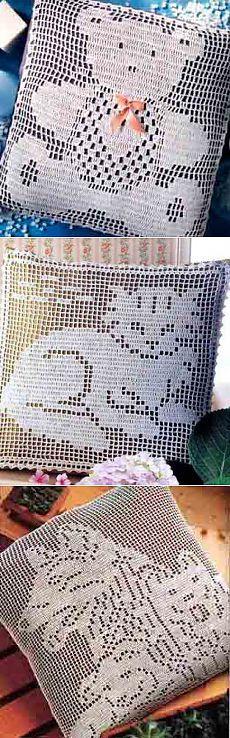 Филейное вязание, подушки с животными..